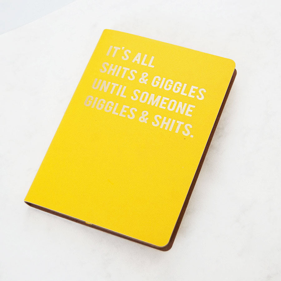 Shits & Giggles Yellow A6 Notebook