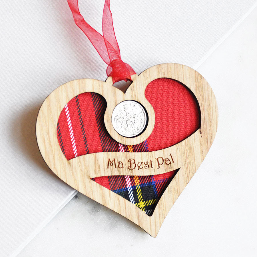 Ma Best Pal Heart Sixpence Hanging Decoration