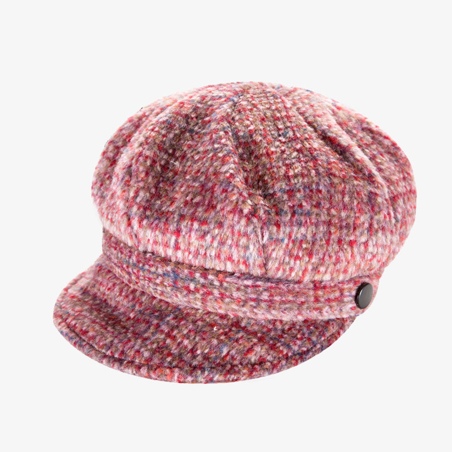Ladies Blush Pink Teed Newsboy Cap