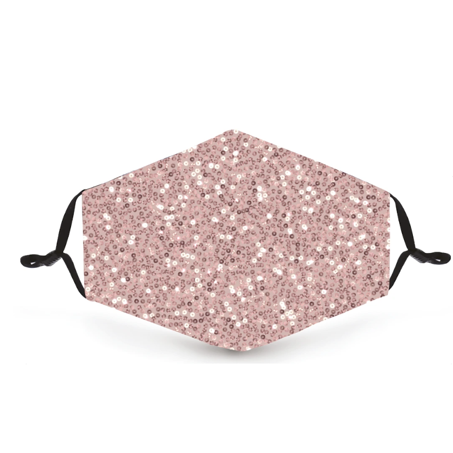 Blush Pink Sequin Metallic Reusable Face Mask