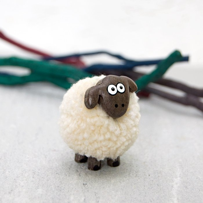 Fluffy Sheep Wooden Decoration