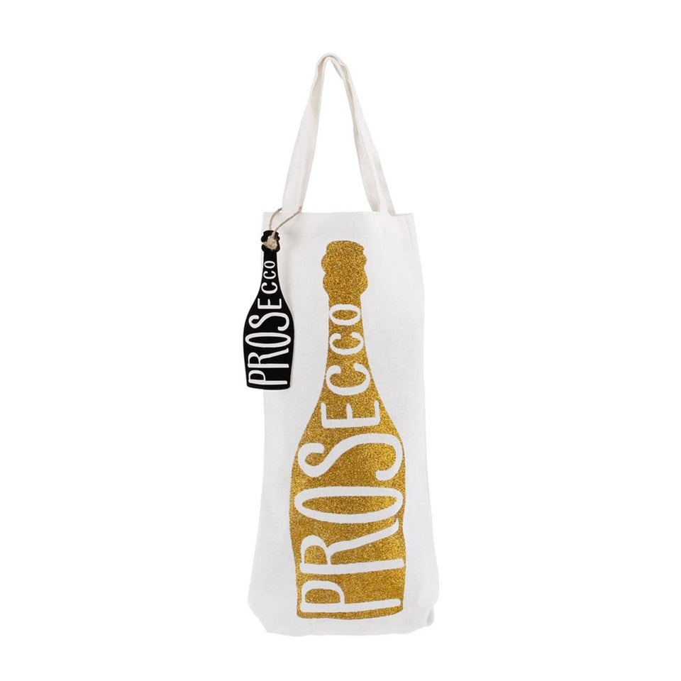Gold Glitter Prosecco Canvas Bottle Bag