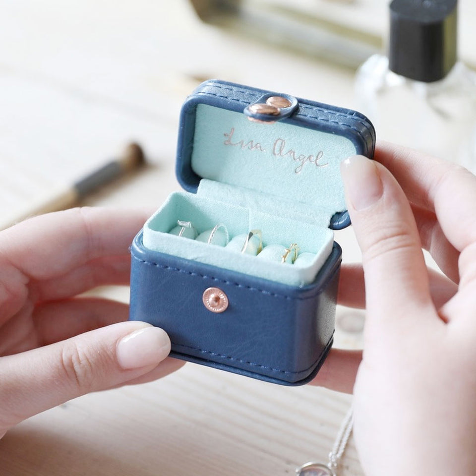 Navy & Mint Mini Travel Ring Box