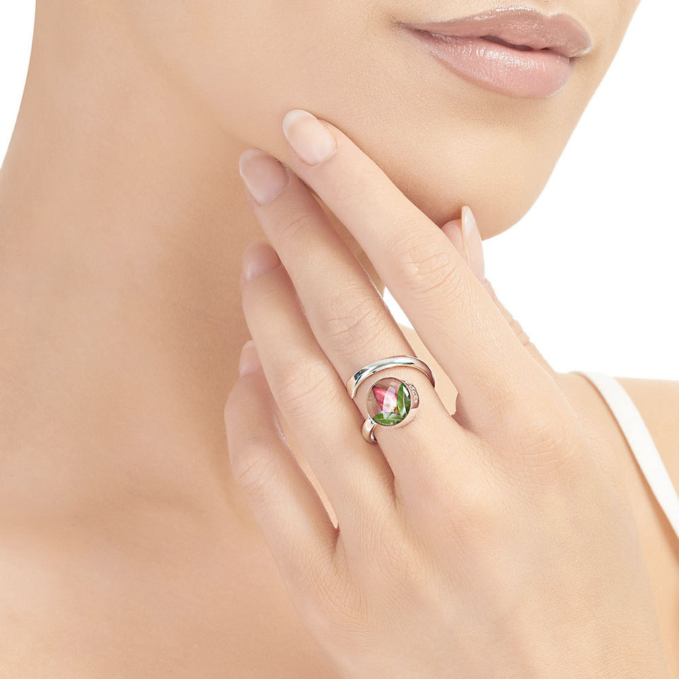 Rosebud Sterling Silver Adjustable Ring