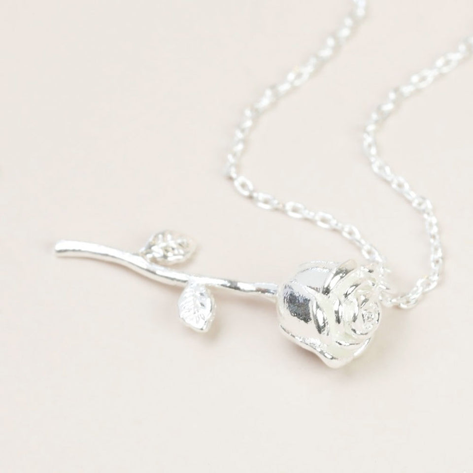 Silver Stem Rose Pedant Necklace
