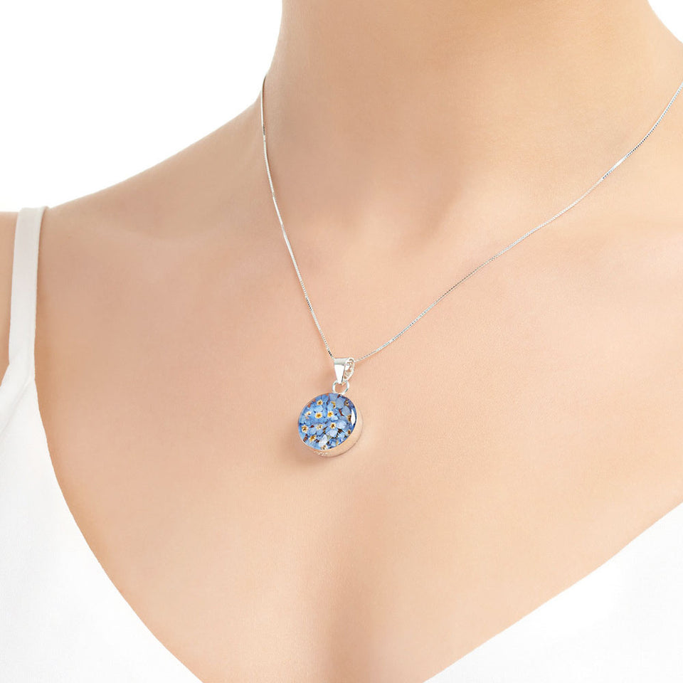 Forget Me Not Round Sterling Silver Pendant Necklace