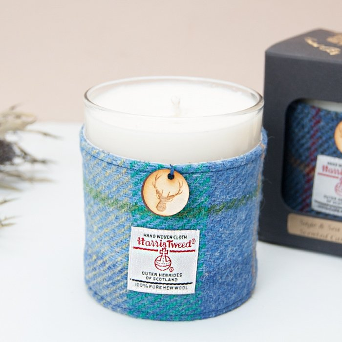 Sage & Sea Salt Harris Tweed Candle Jar Box