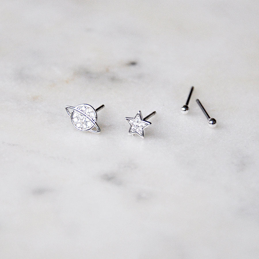 Star and Saturn Silver Plated Stud Earrings Set
