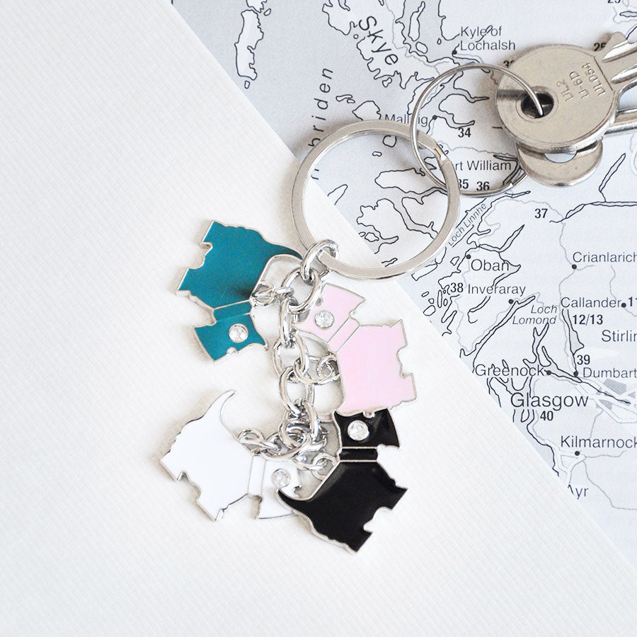 Multi Scottie Dog Keyring