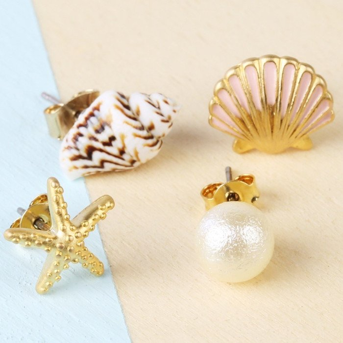 Seashell & Pearl Stud Earrings | Set of 4