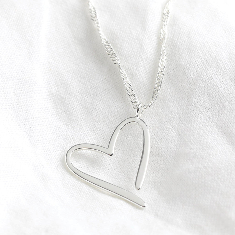 Signature Outline Heart Necklace in Silver