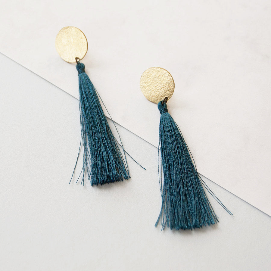 Tassel Single Dark Teal Brass Earrings