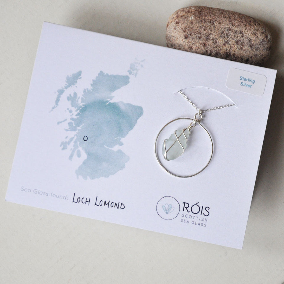 Silver Hoop White Sea Glass Necklace
