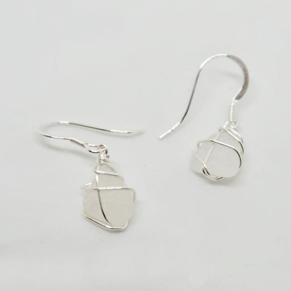 Silver Classic White Sea Glass Earrings