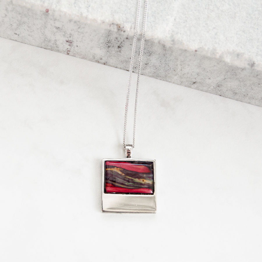 Skye Silver Square Pendant Necklace