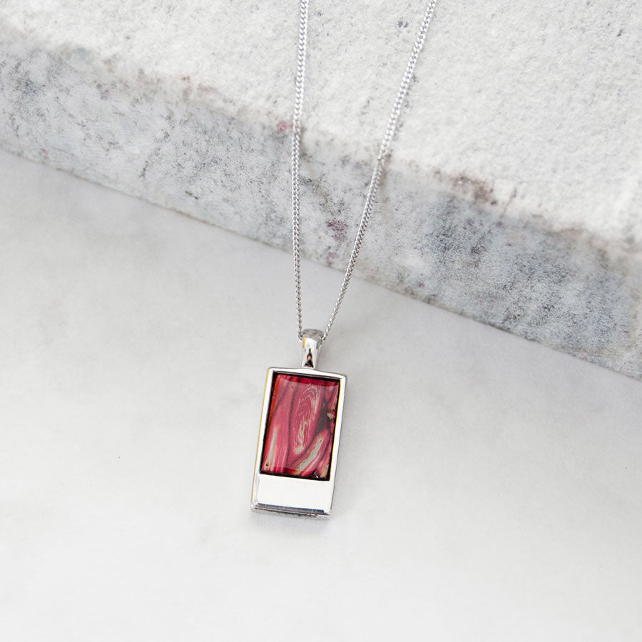 Skye Silver Rectangle Pendant Necklace