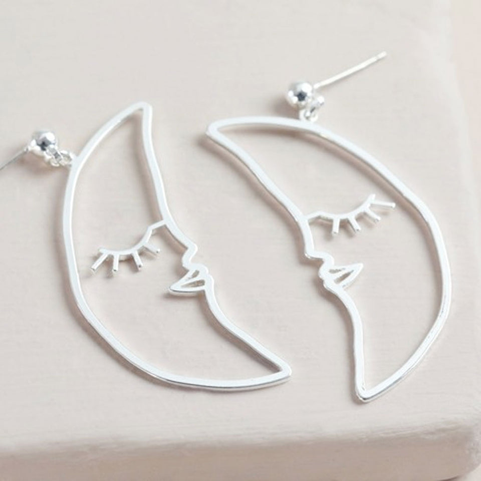 Sleeping Crescent Moon Face Drop Earrings in Silver