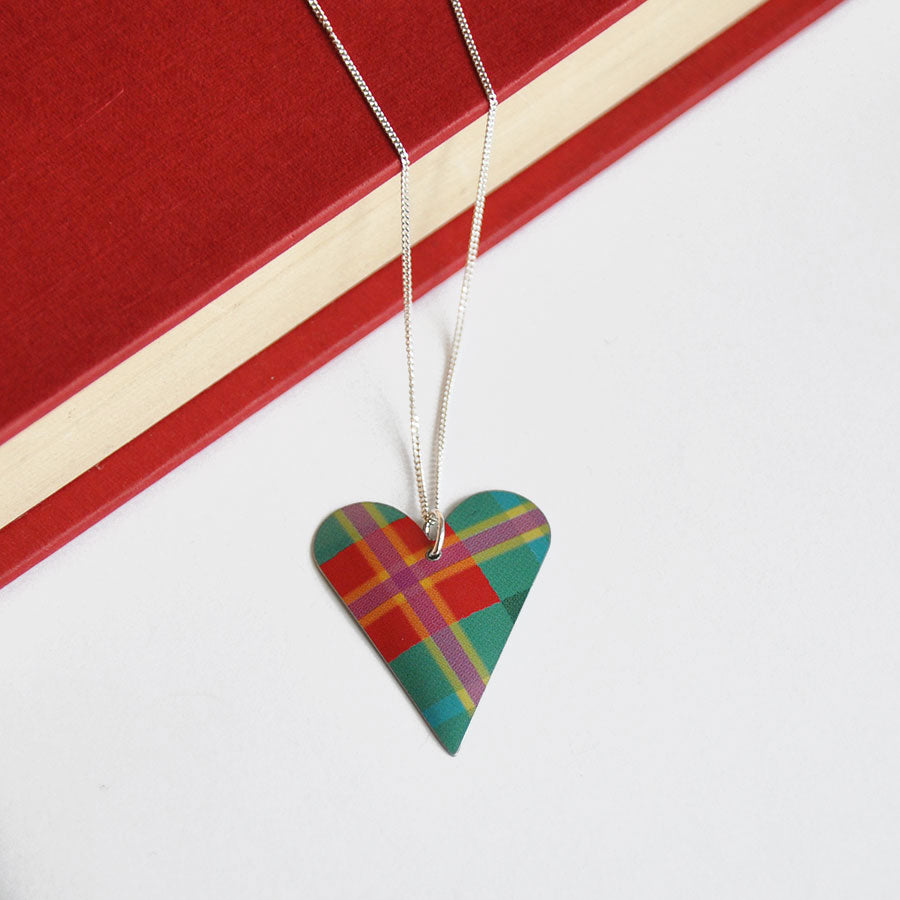 Green & Red Tartan Slim Heart Pendant Necklace