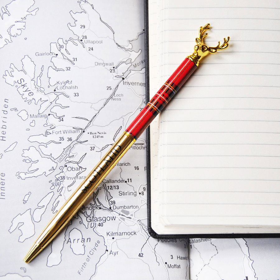 Red Tartan Gold Stag Scotland Pen