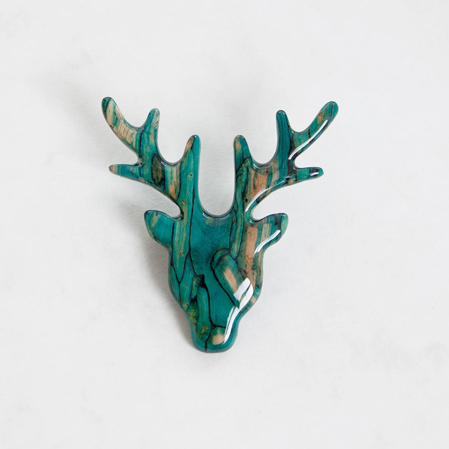 Heather Stem Stag Head Brooch