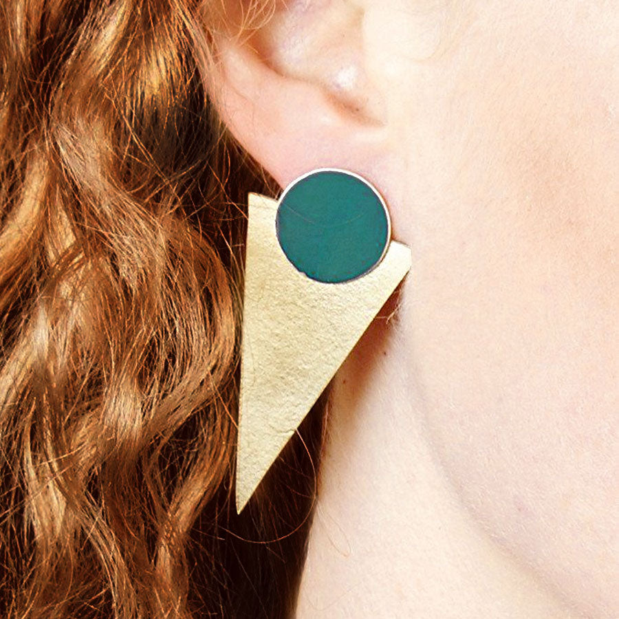 Teal Coloured Brass Statement Stud Earrings
