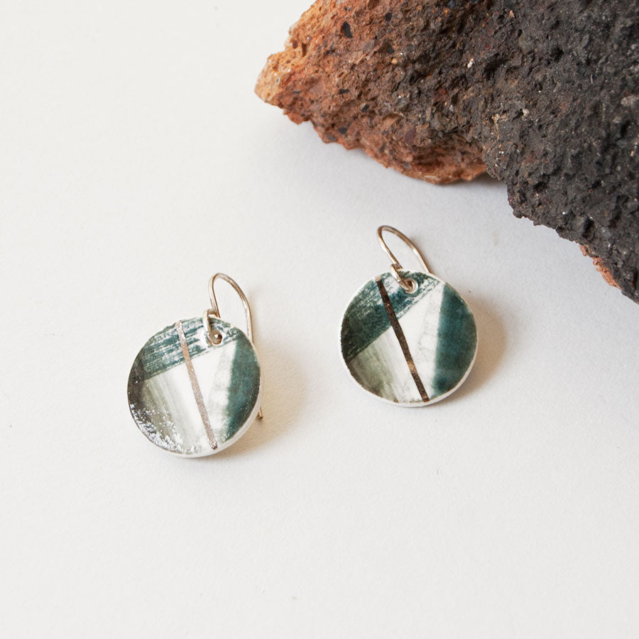 Storm Ceramic Disc Silver Hook Earrings