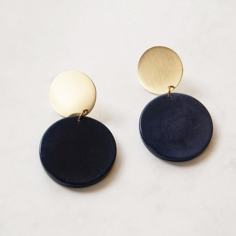 Rachel Blue Double Disc Studs Earrings