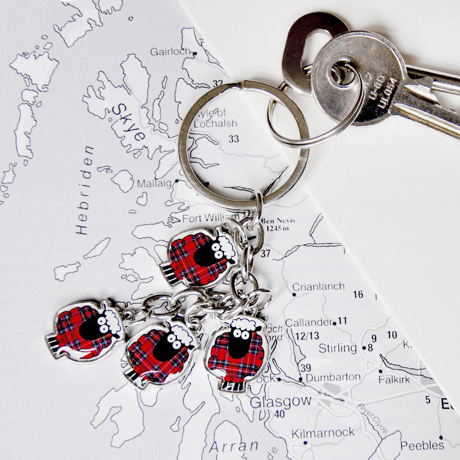 Red Tartan Multi Sheep Keyring