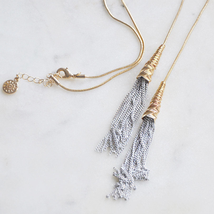 Long Grey Tassel Necklace