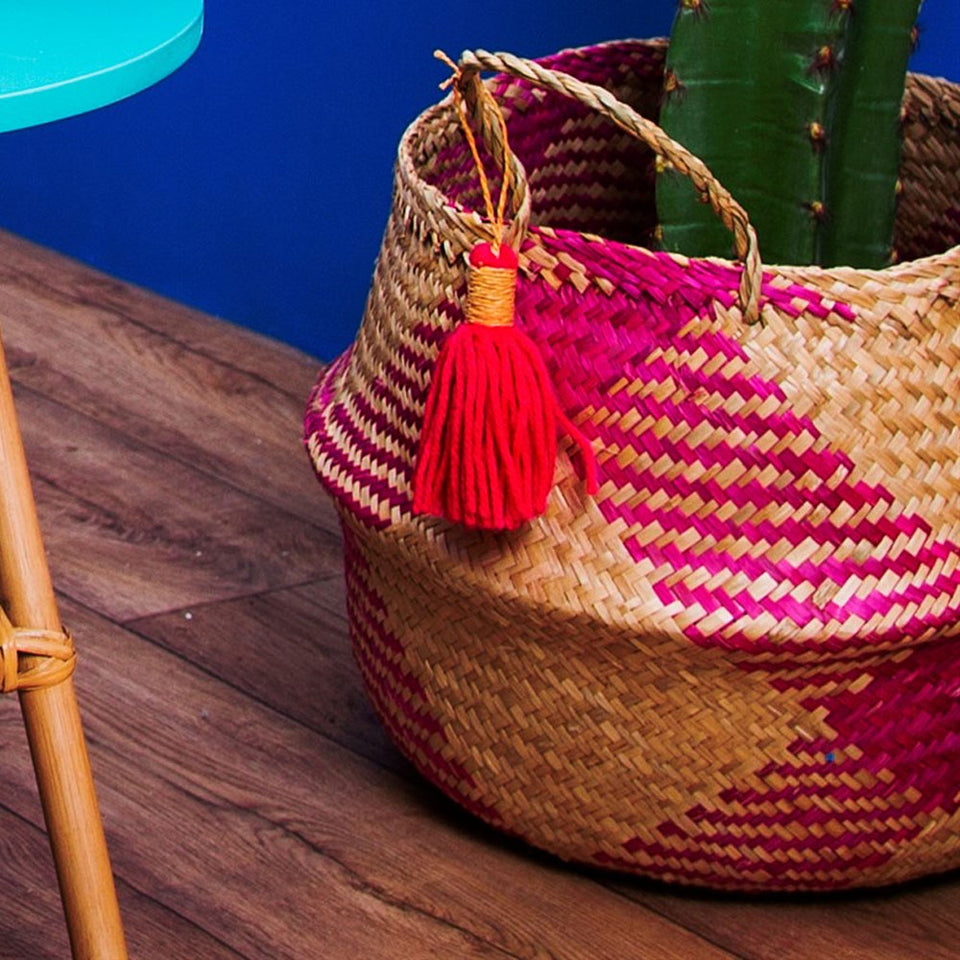 Pink Tribal Pattern Tassel Storage Basket