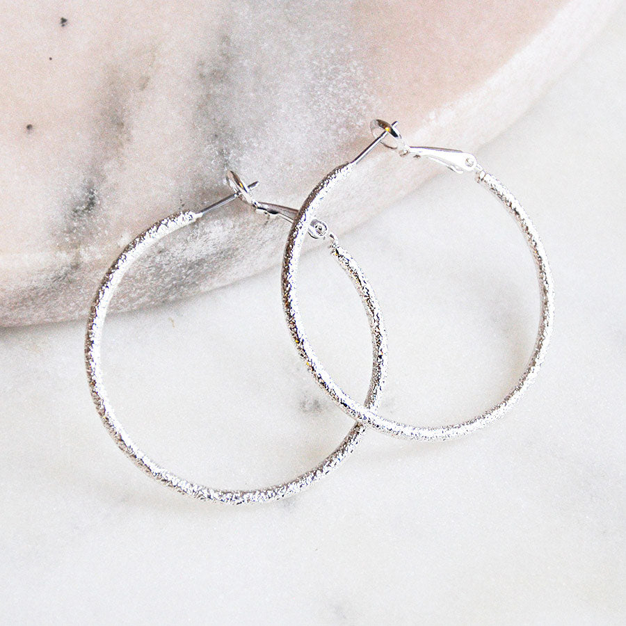 Textured Silver Plated Hoop Earrings