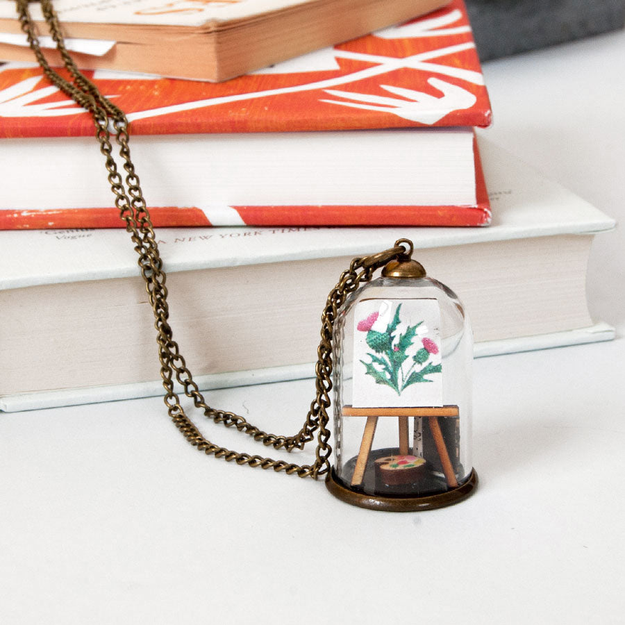 Thistle Easel Miniature Dome Pendant Necklace