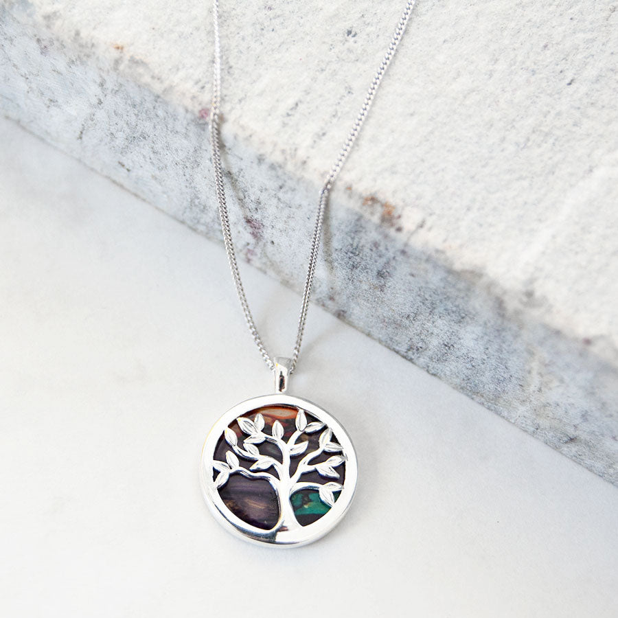 Silver Heather Tree Of Life Pendant Necklace