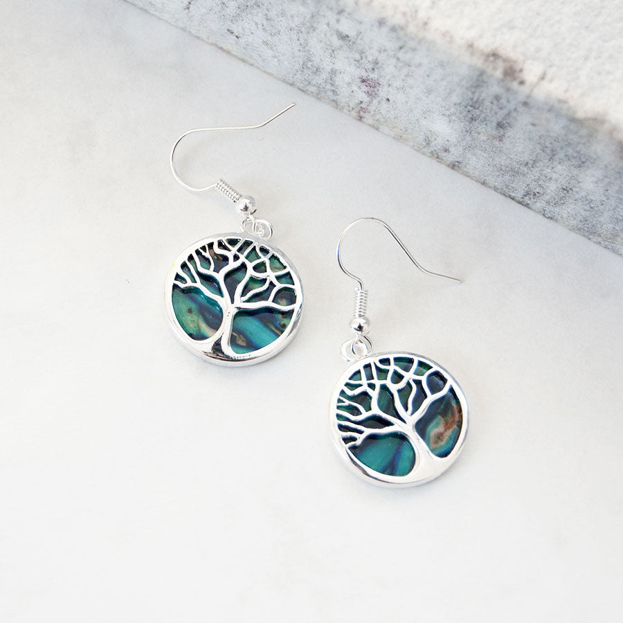 Silver Heather Tree of Life Hook Earrings