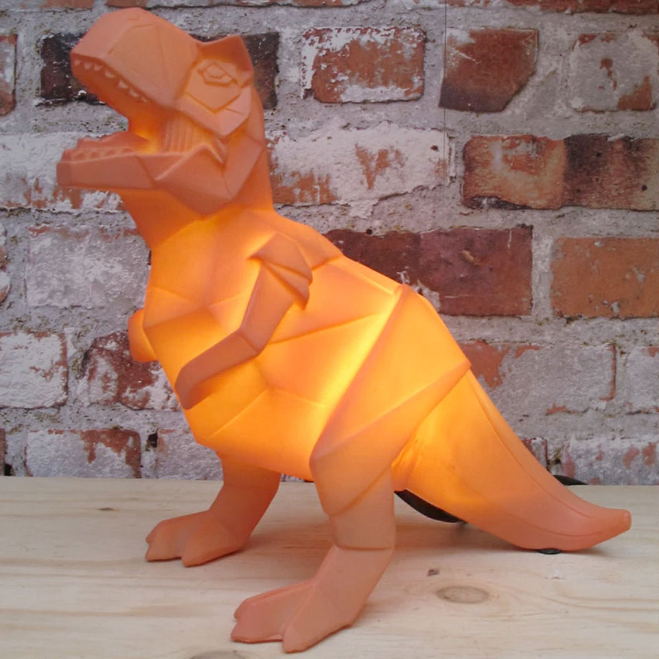 Orange T Rex Dinosaur Origami Lamp | UK Plug