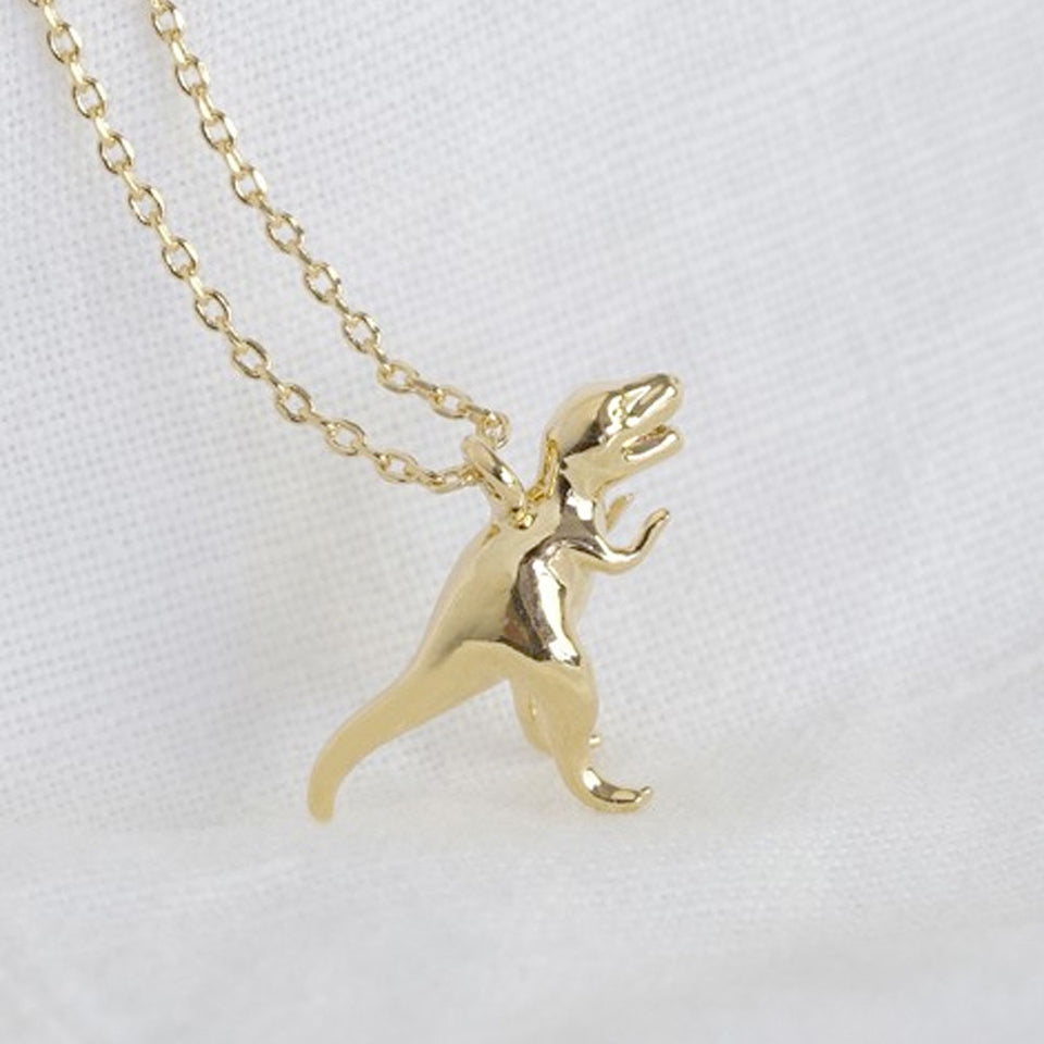 Gold T-rex Dinosaur Pendant Necklace