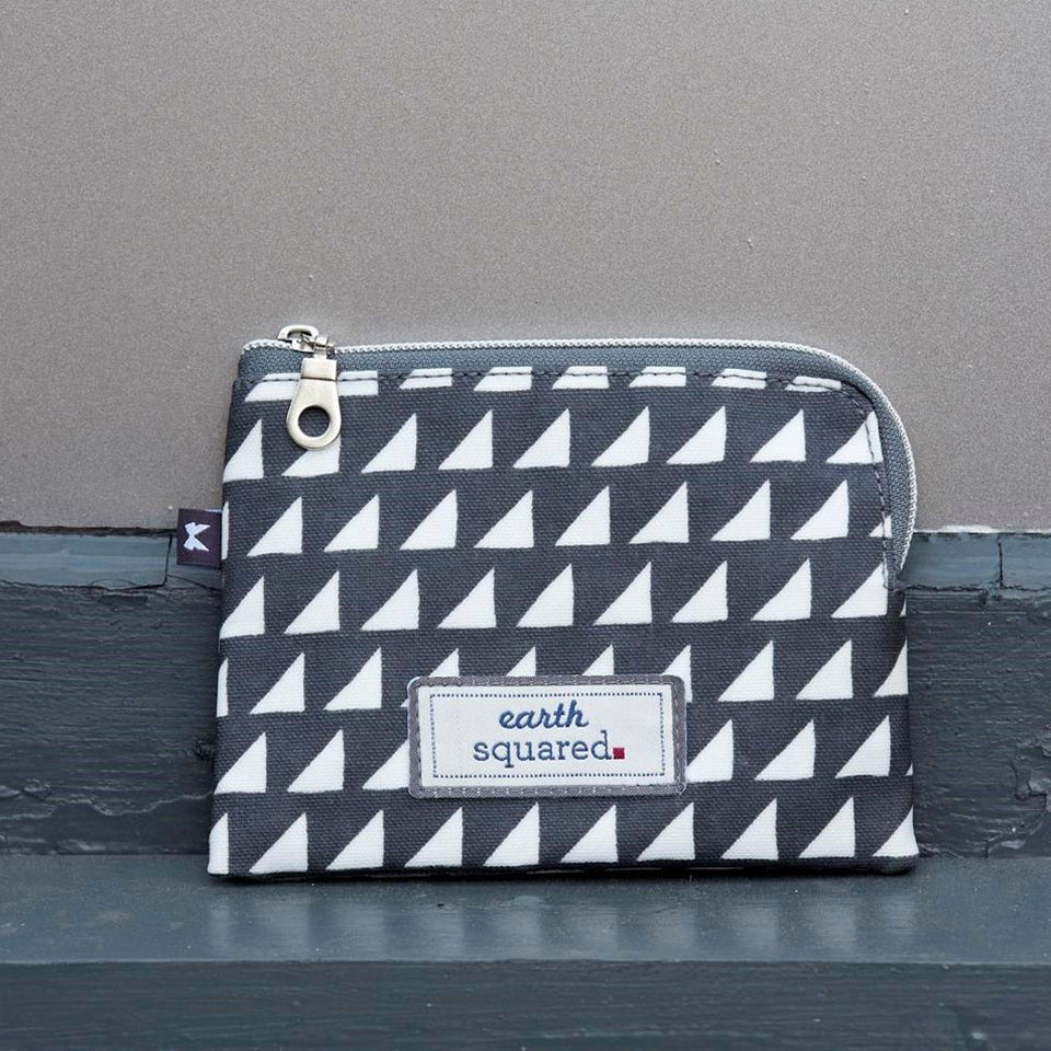 Grey Triangles Oil Cloth Freya Purse