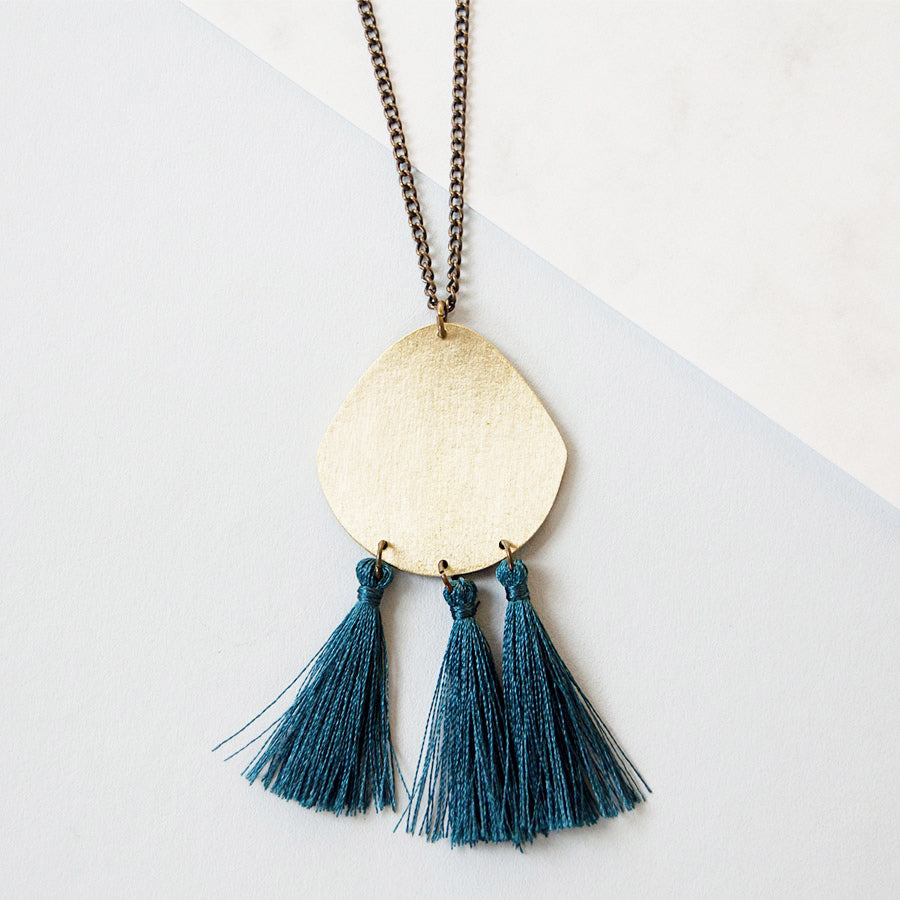Tassel Trio Dark Teal Brass Pendant Necklace