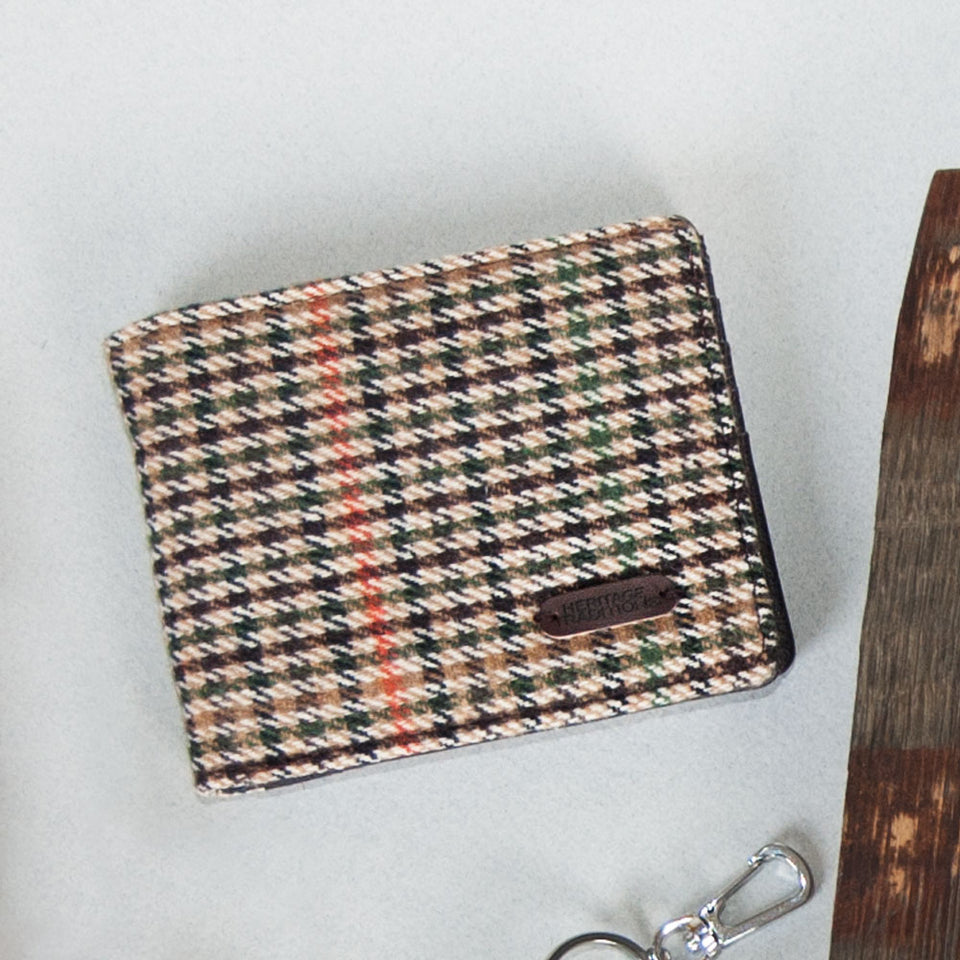 Heritage  Brown Houndstooth Tweed Wallet
