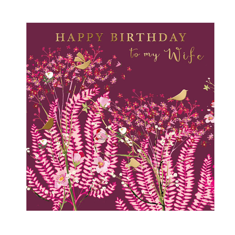 Wife Pink Floral Birthday Card