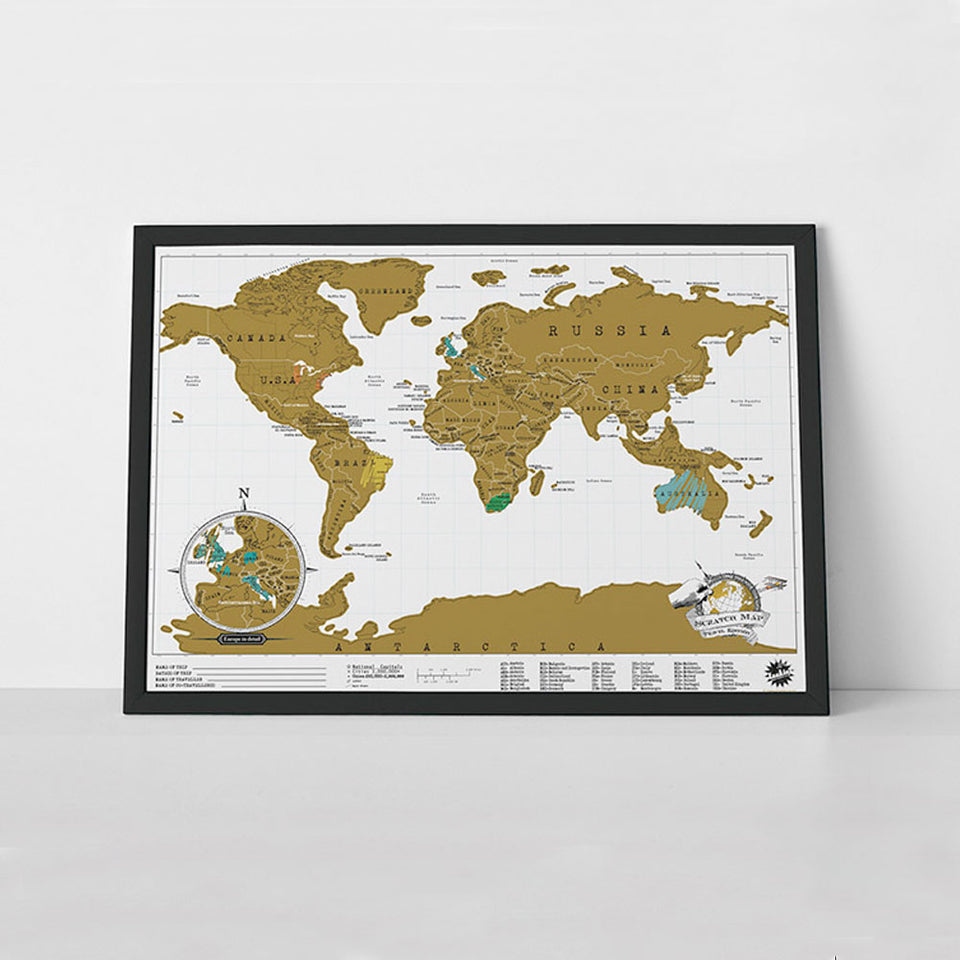 Scratch Map Travel Poster