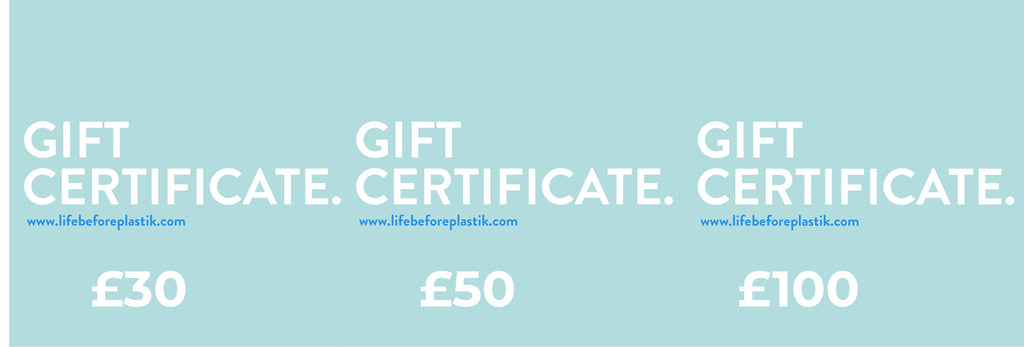Life Before Plastik gift vouchers