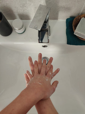 Washing hands step four, natural soap bar
