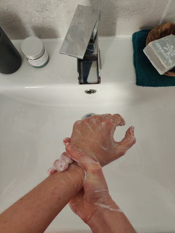 Washing hands step nine, natural soap bar