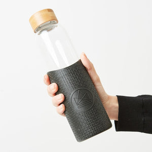 Neon Kactus Glass Water Bottle - Black - Life Before Plastik