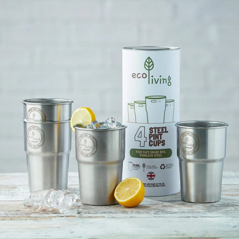 EcoLiving: 4 pack of Steel Pint Cups