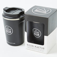 Load image into Gallery viewer, Neon Kactus Stainless Steel Coffee Cup - Black - Life Before Plastik