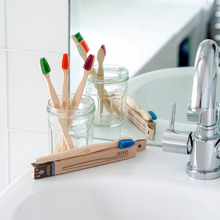 Load image into Gallery viewer, Beech Wood Toothbrush Blue - EcoLiving - Life Before Plastik