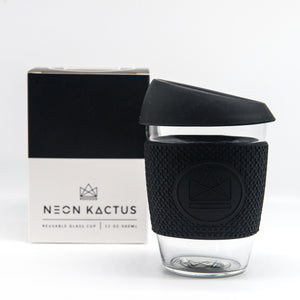Neon Kactus Reusable Glass Coffee Cup - Black