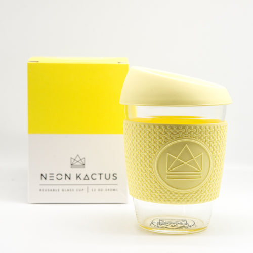 Neon Kactus Reusable Glass Coffee Cup - Yellow